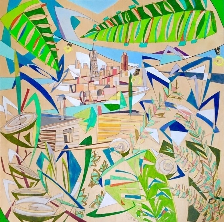 "36""x36"" Wood - SF, views, flourishing - joeyderuy 