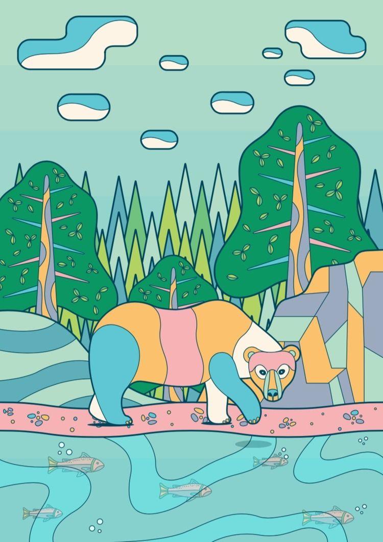 bear woods - illustration, vector - flickcm | ello