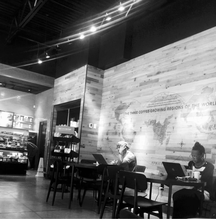 Cafe - blackandwhite, light, shadow - drewsview74   ello