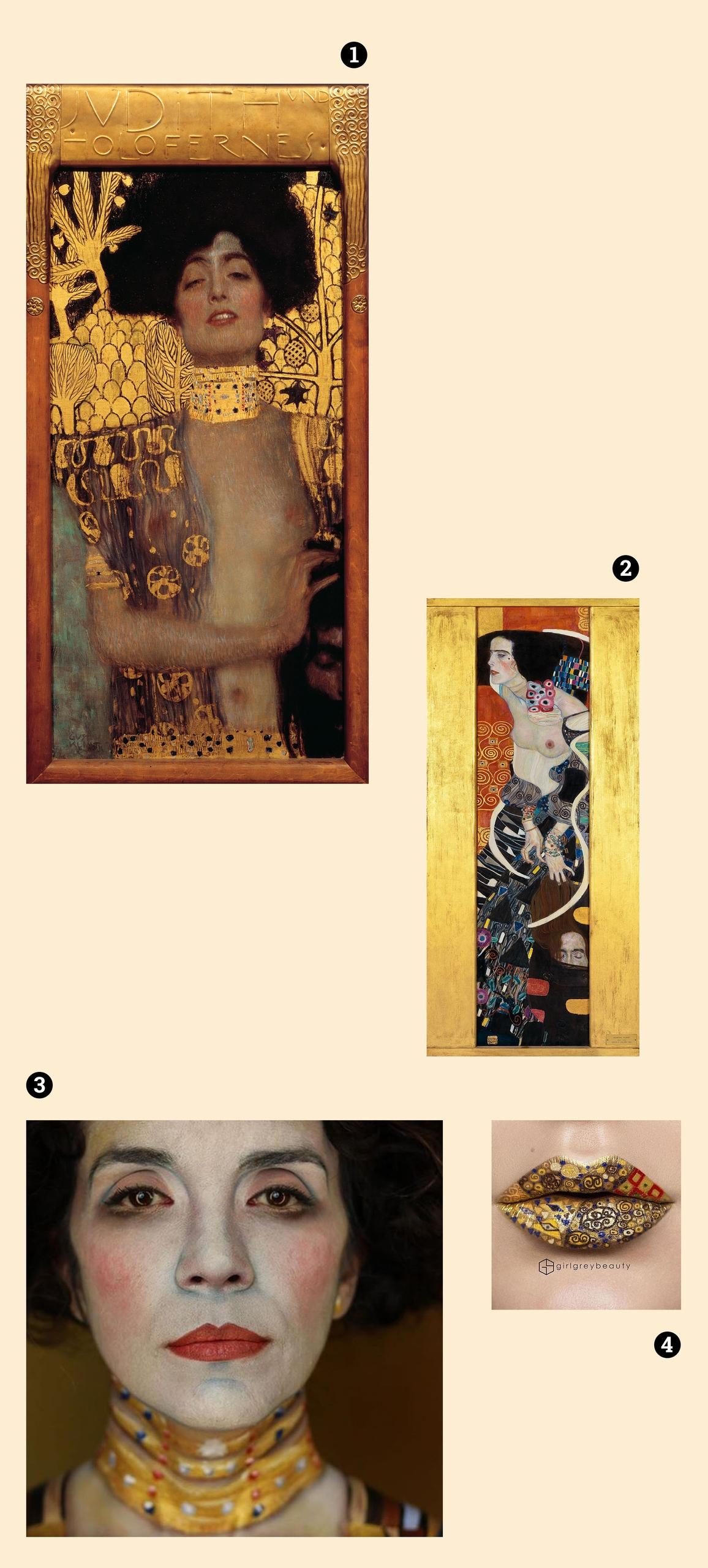 Obraz przedstawia cztery zdjęcia na jasno-żółtym tle. Widzimy obrazy znanego artysty, modelkę w makijażu i usta.