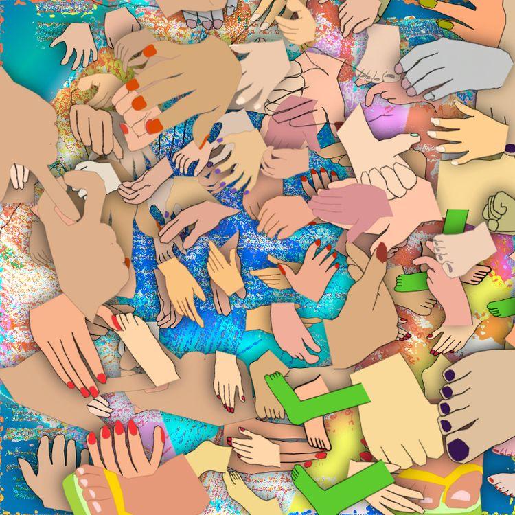 layers, hands, blue, VectorDrawing - coochdawg | ello