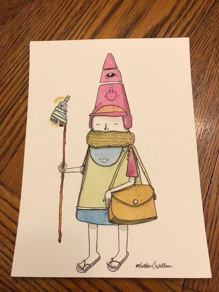 "Hat003"" 8"" watercolor ink 140 l - matthew_castellano 