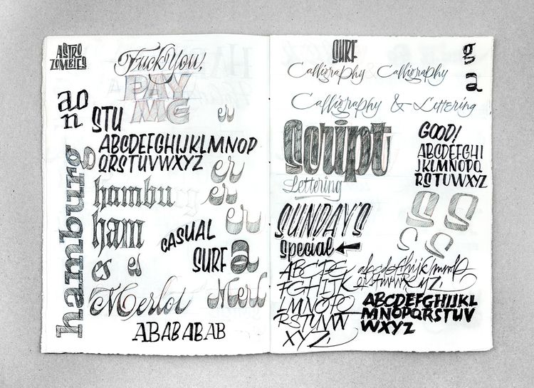 couple pages lettering sketchbo - joanquiros | ello