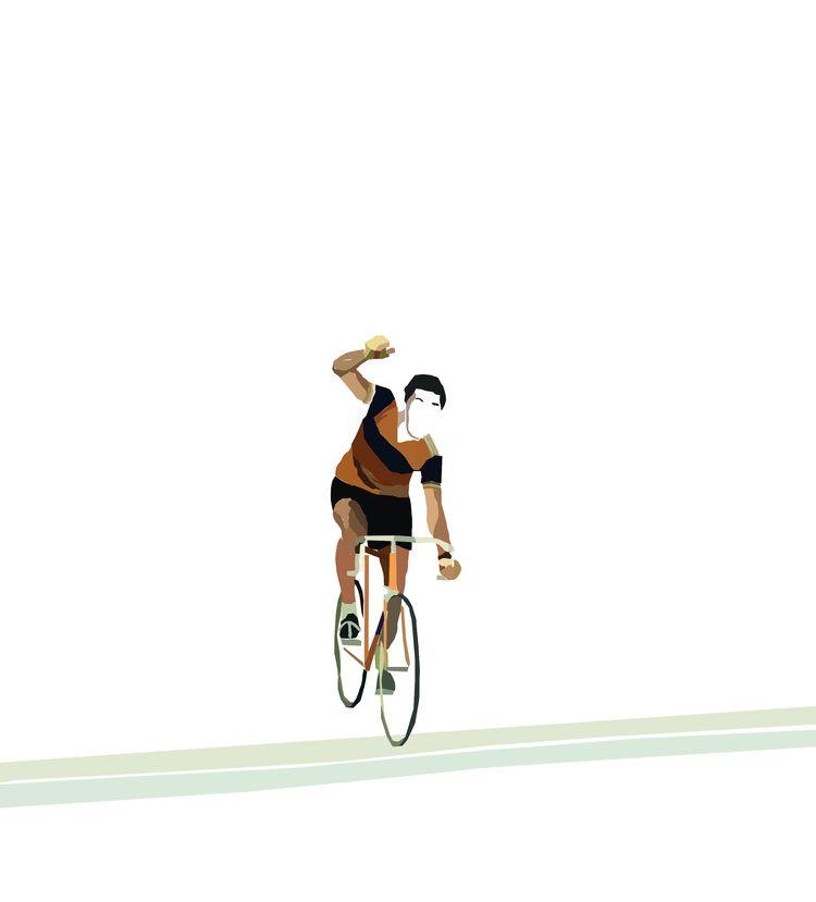 Eddy Merckx crossing Milan-Sao  - sophieillustration | ello