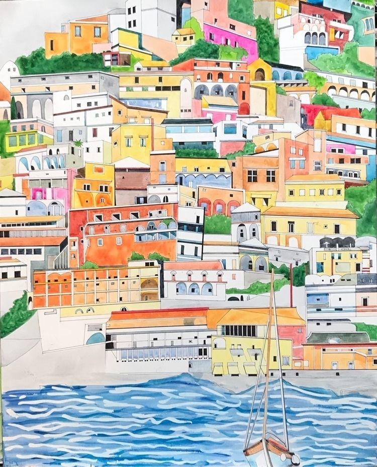 Positano - watercolor, handmade - whitneysanford   ello