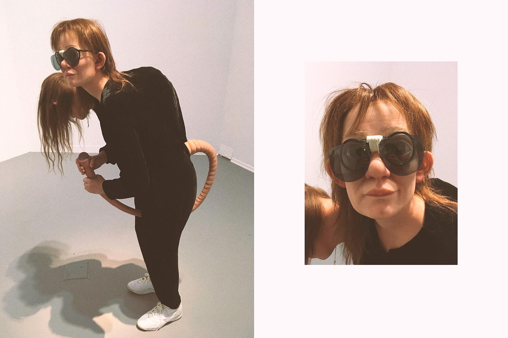 Obraz przedstawia dwa zdjęcia baśniowej postaci z dwiema głowami. Jedno zdjęcie przedstawia zbliżenie na twarz postaci w okularach.