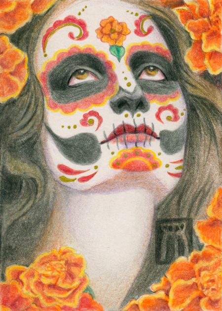 Sugar Skull Marigolds. Colored  - nightmareartist | ello