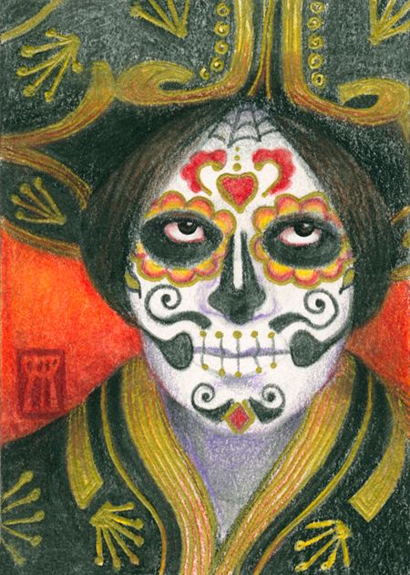 Day Dead Sugar Skull Sombrero.  - nightmareartist | ello