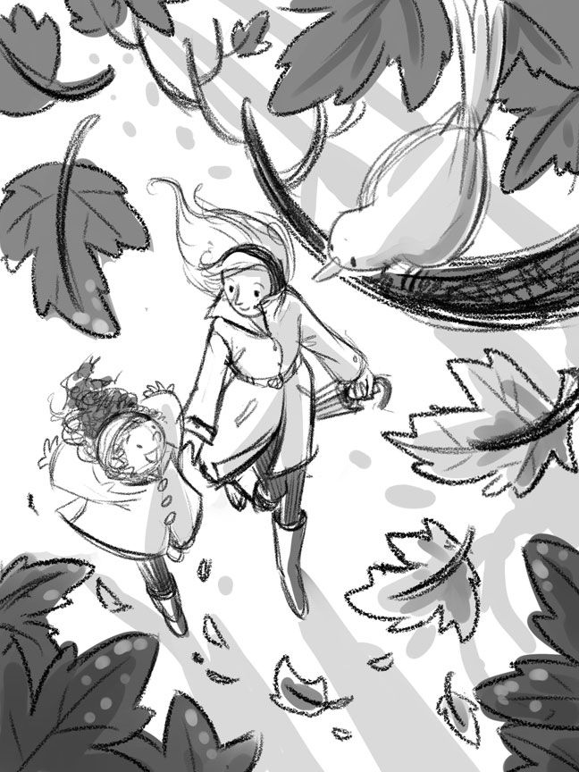 Falling leaves - illustration, kidlitart - charlenechua | ello