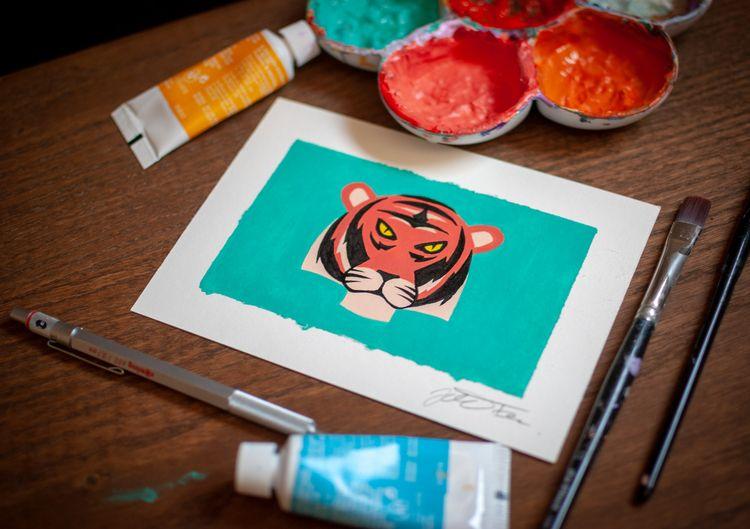 El gato - drawing, painting, tiger - jferreirastudio | ello