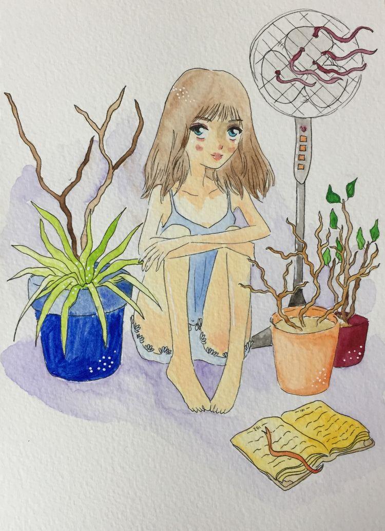 hot summer - traditional, art, girl - wildflower86 | ello