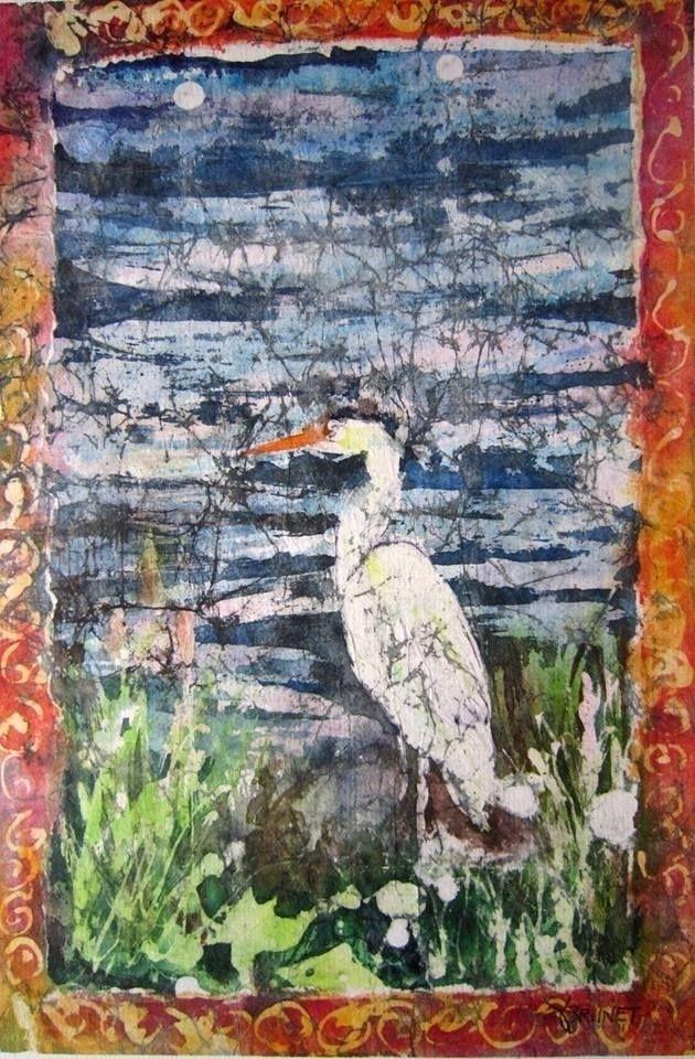 Heron batik, 22x32 cm, 2018, Em - emmaquarellewatercolor | ello
