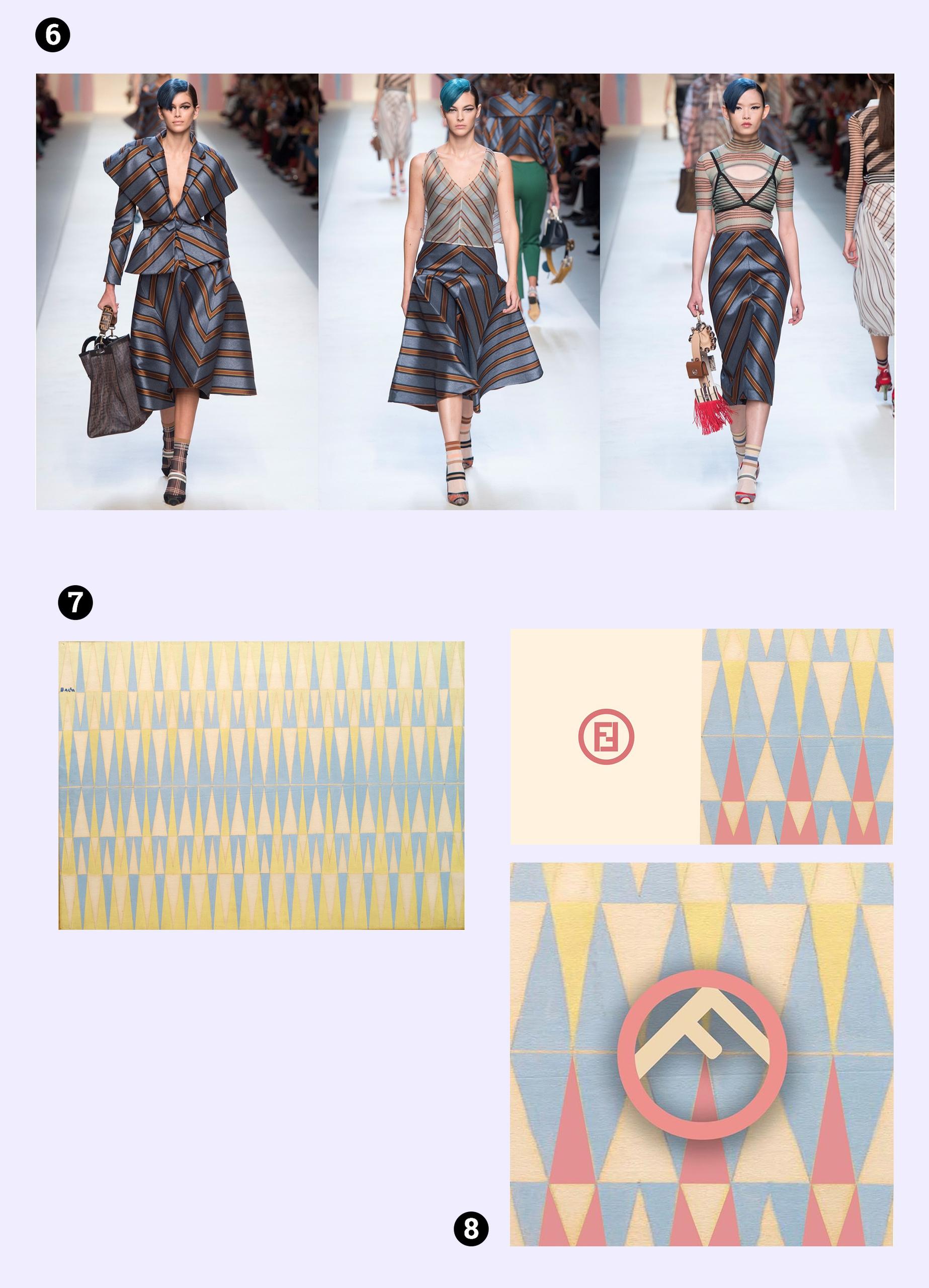 Obraz przedstawia modelki na wybiegu i geometryczne prace artysty w stonowanej kolorystyce. Całość na jasno-fioletowym tle.