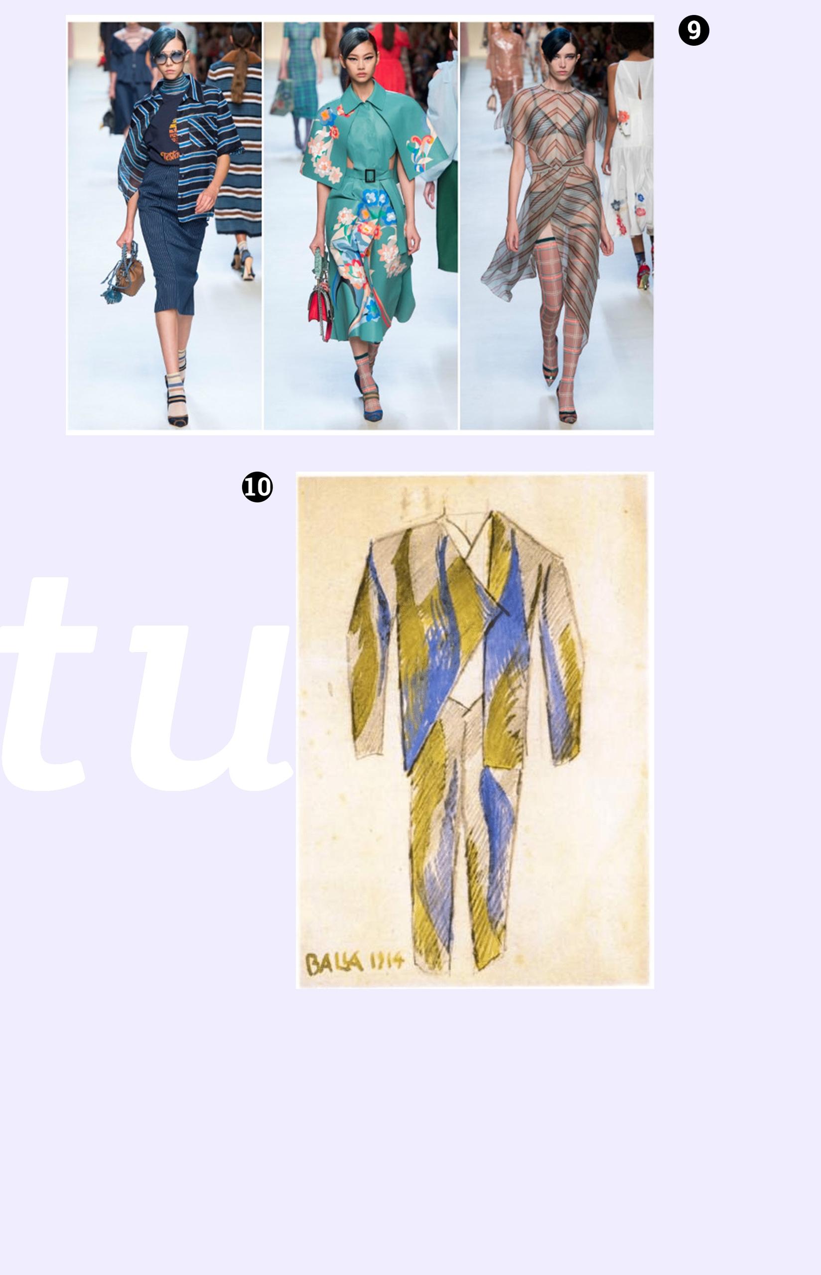 Obraz przedstawia jeden szkic kostiumu i fotografię z pokazu mody. Całość na jasno-fioletowym tle.