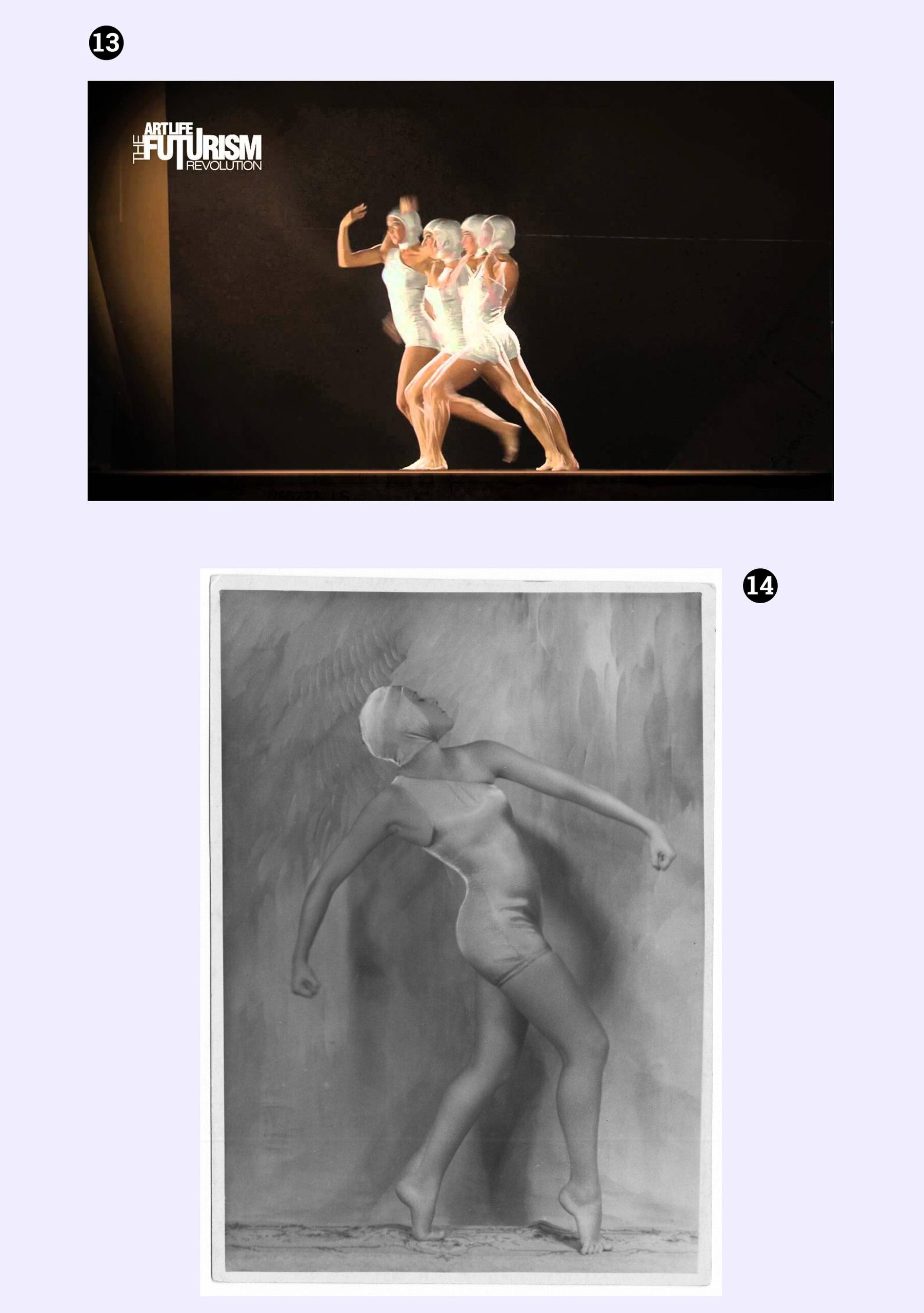 Obraz przedstawia kadr z filmu oraz czarno-białe zdjęcie tancerki. Całość na jasno-fioletowym tle.