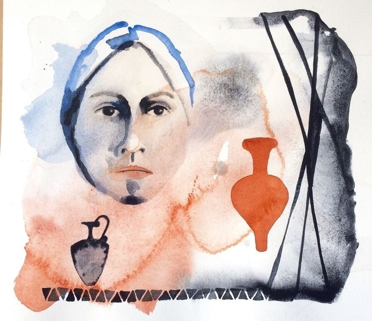 Face forms - watercolor, paper, burntumber - vasagatan | ello