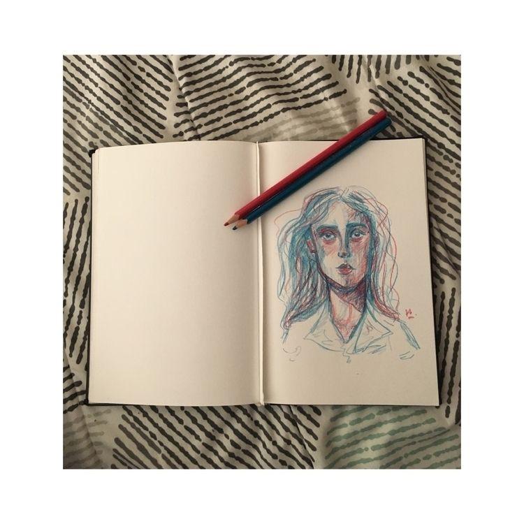 Portrait, red blue - doodle - julietprochet | ello