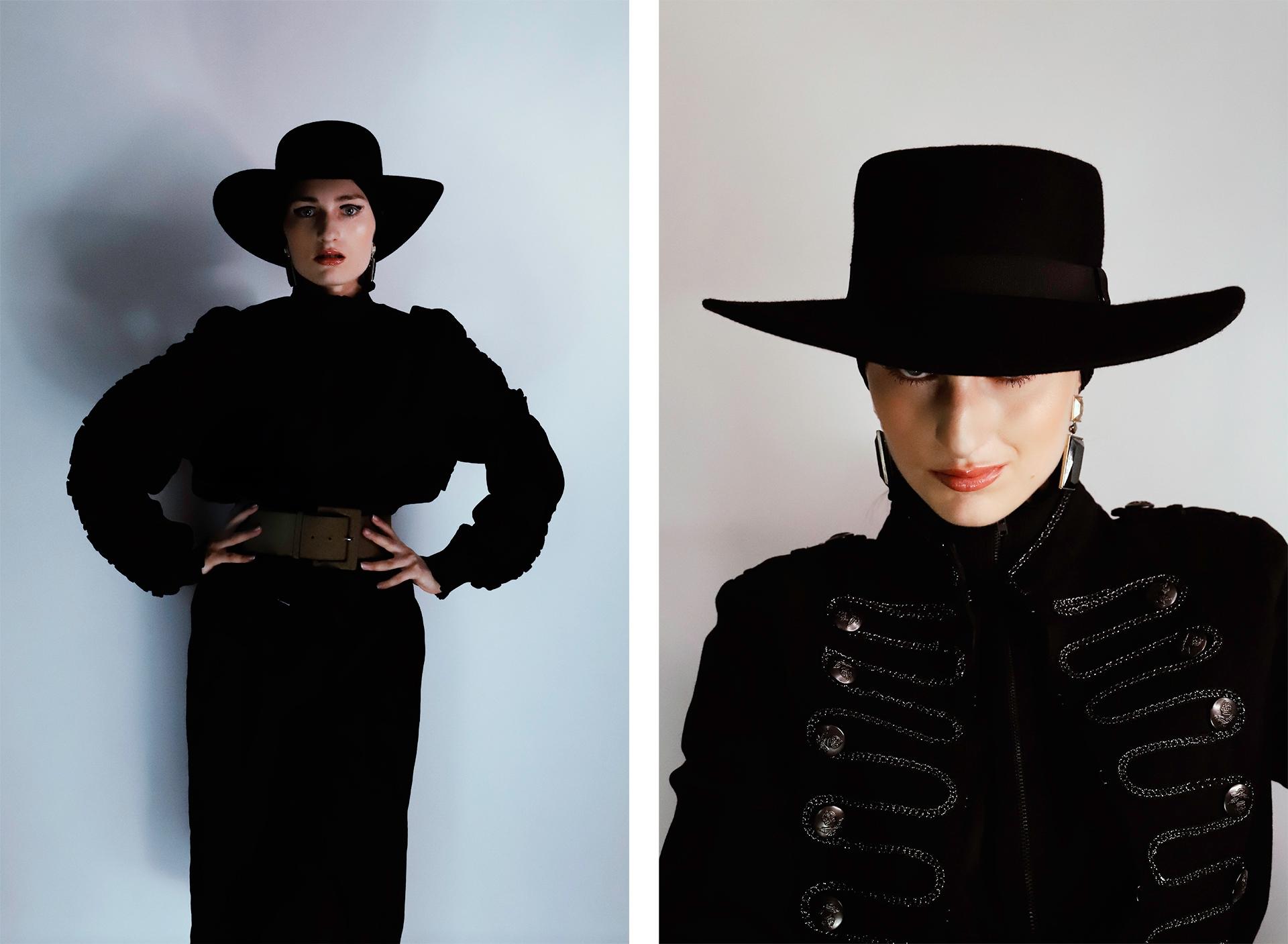 Obraz przedstawia dwa zdjęcia kobiety ubranej na czarno, w czarnym kapeluszu. Zdjęcie po stronie prawej jest kadrem portretowym.