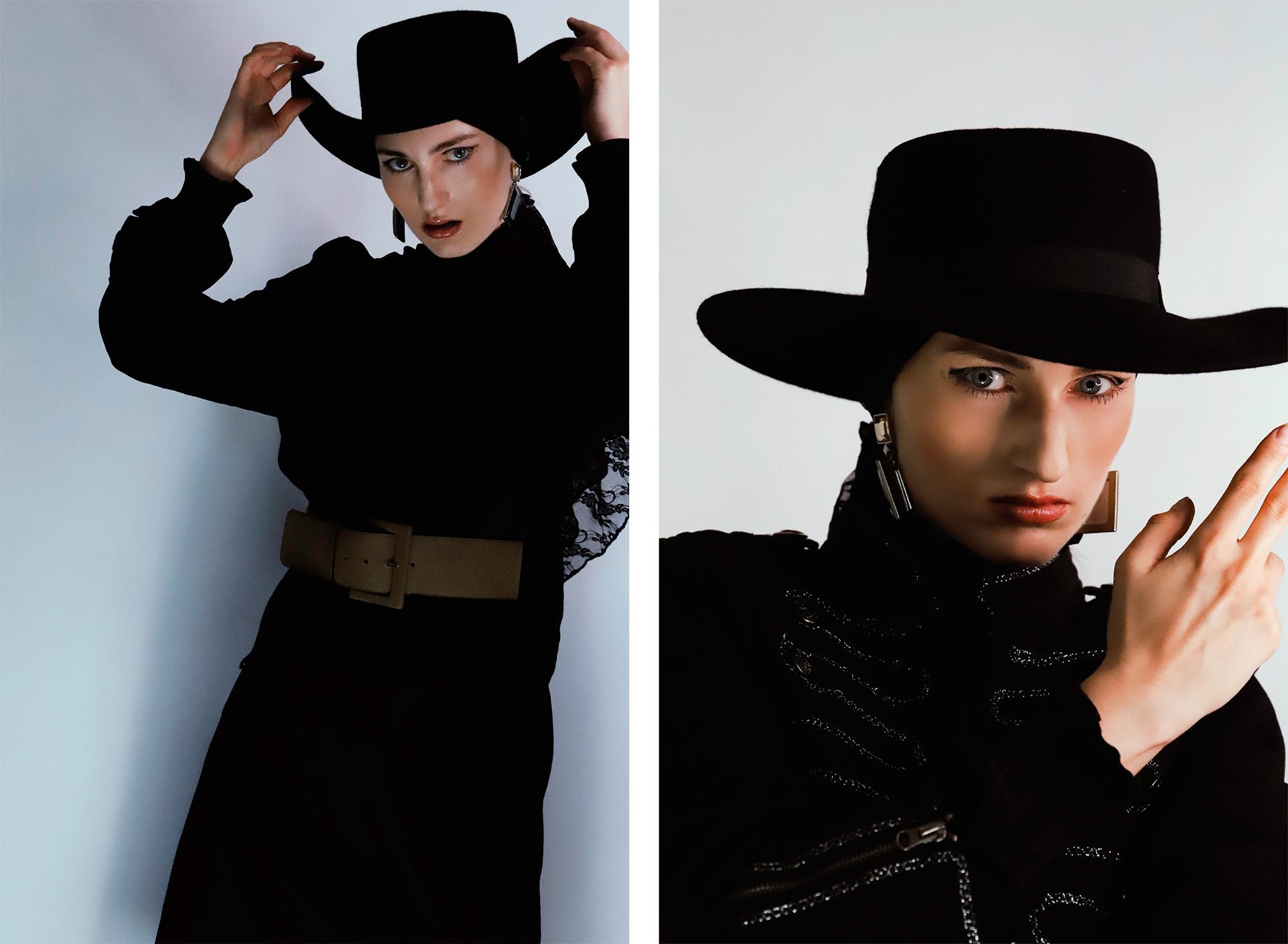 Obraz przedstawia dwa zdjęcia kobiety ubranej w czarny strój i czarny kapelusz. Zdjęcie z prawej strony przedstawia zbliżenie portretowe.