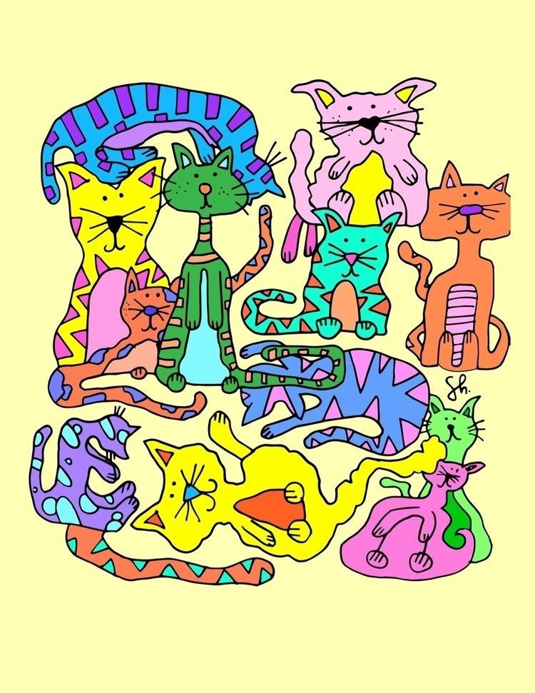 """Purrty Cats,"" design shop shir - shelbyworks | ello"