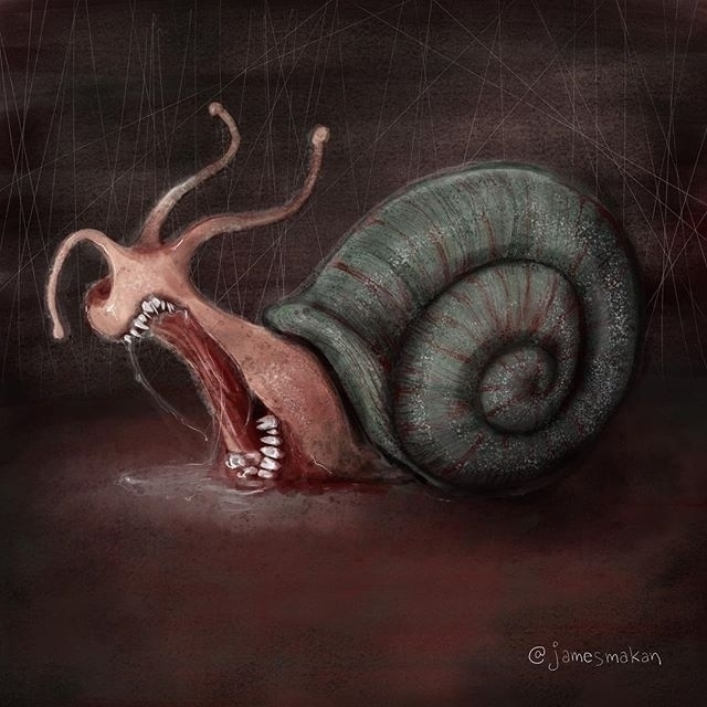 scary snail - horror, drawing, digitalart - jamesmakan | ello