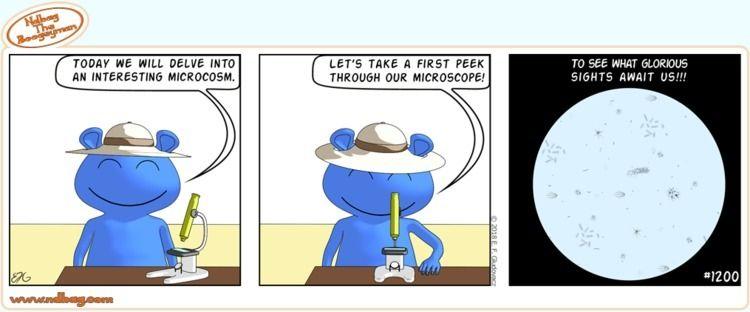 peek - microscope!!!, science, comic - ndbag   ello