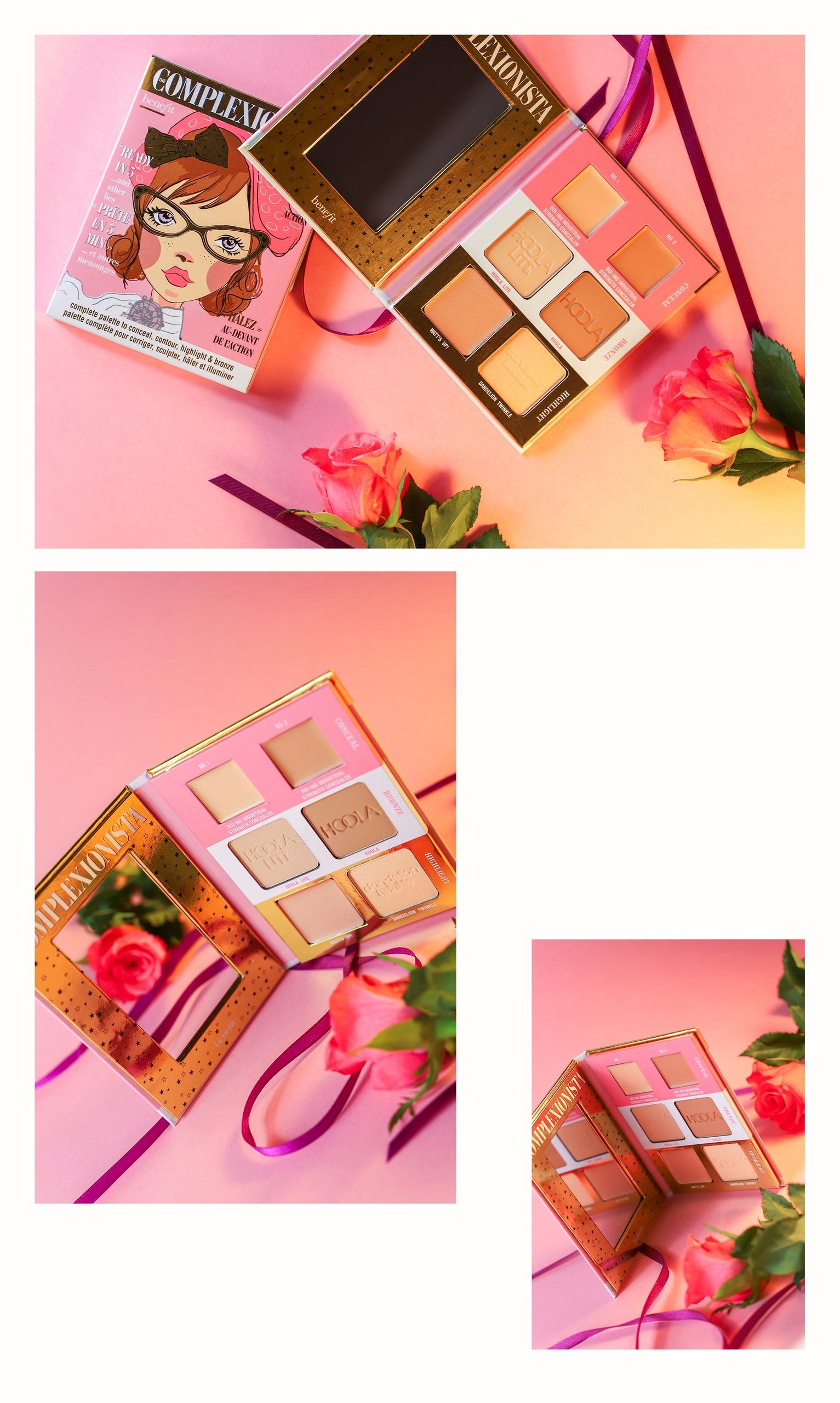 Obraz przedstawia trzy zdjęcia kosmetyku na różowym tle w otoczeniu kwiatów.