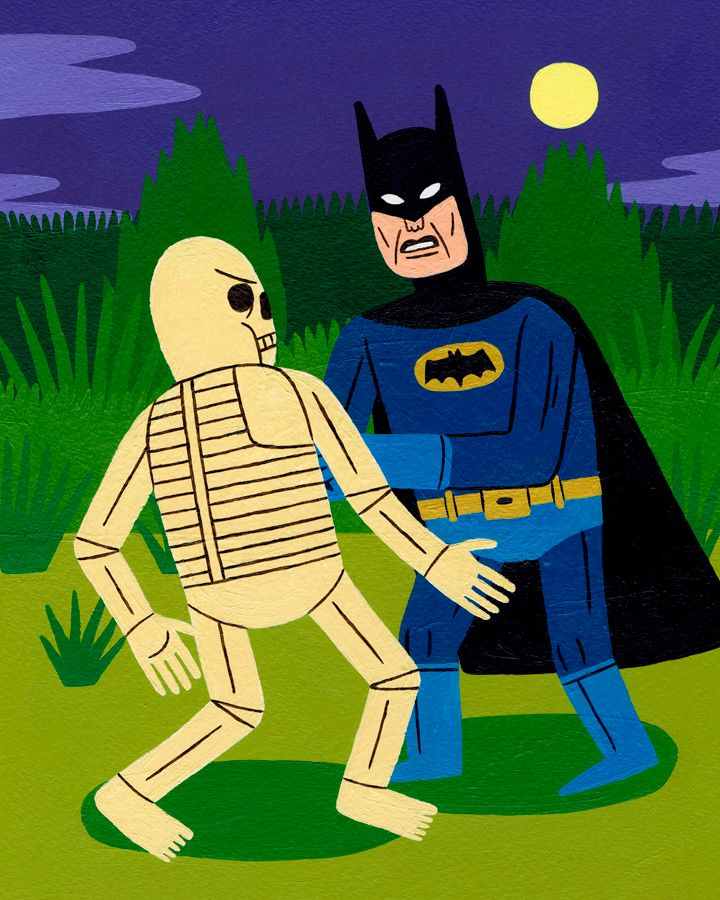 Batman Fights Skeleton Acrylic  - jackteagle | ello