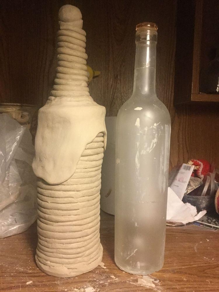 Late night hand building bottle - chrisswazie-ceramics | ello