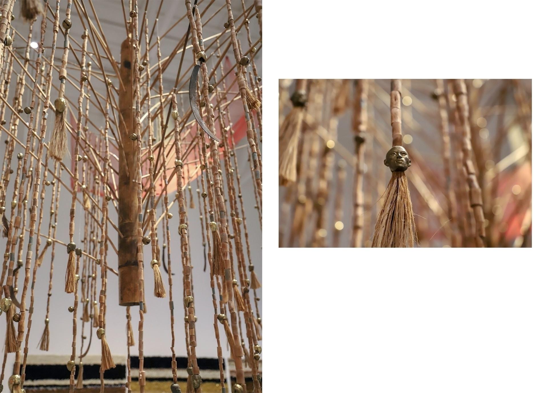 Obraz przedstawia dwa zdjęcia rzeźby wykonanej z patyków. Na drugim zdjęciu widzimy zbliżenie na rzeźbę twarzy.
