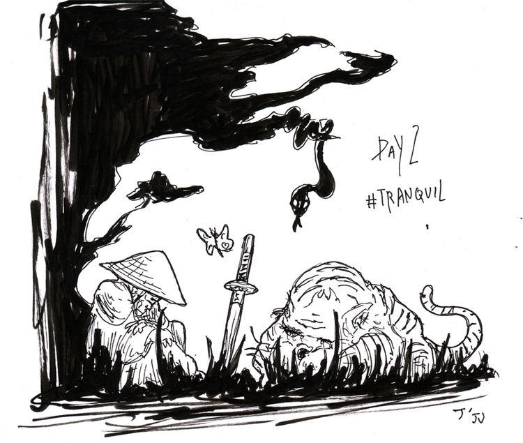 Inktober - Day 2 Tranquil quiet - jju | ello