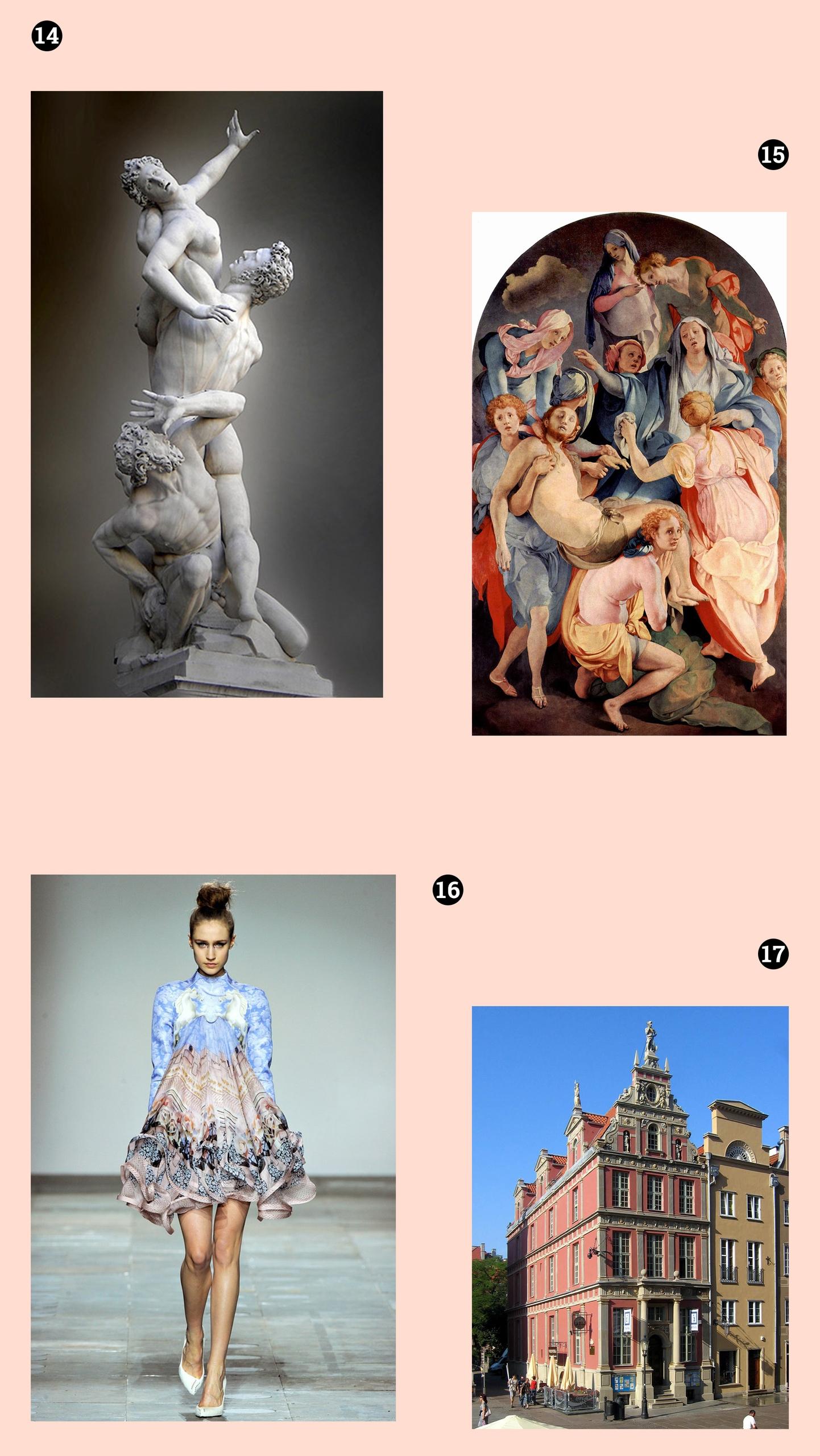 Obraz przedstawia cztery fotografie. Na pierwszej widzimy rzeźbę, na kolejnej obraz olejny znanego artysty, trzecia przedstawia postać kobiecą, a czwarta fragment architektoniczny.