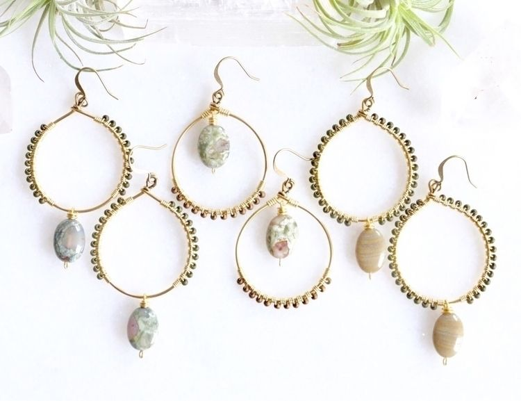 Seed bead gemstone hoops - emmandflow - emmandflow | ello