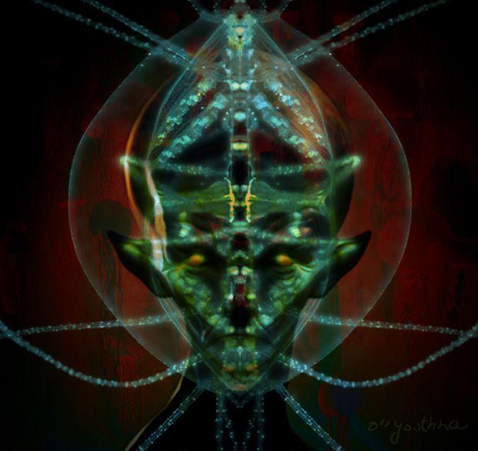 Vintage Alien Art - dark, Fantasy - oyouthna | ello