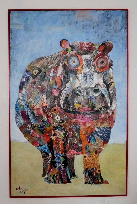 Happy Hippie Hippo Paper Collag - chris_schauer | ello