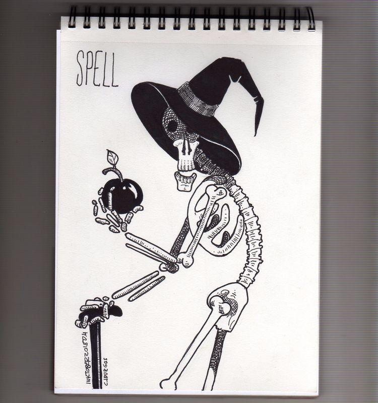 day 4 - inktober2018, skeleton, witch - cjburgos   ello