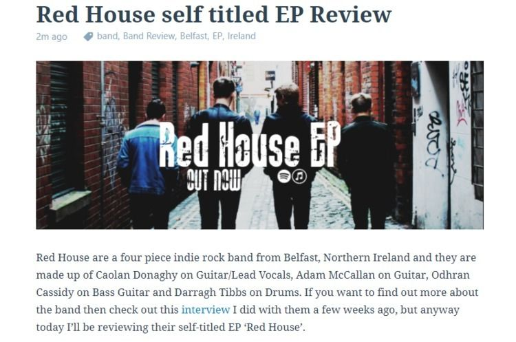Red House titled EP Review piec - offtherecordblog | ello