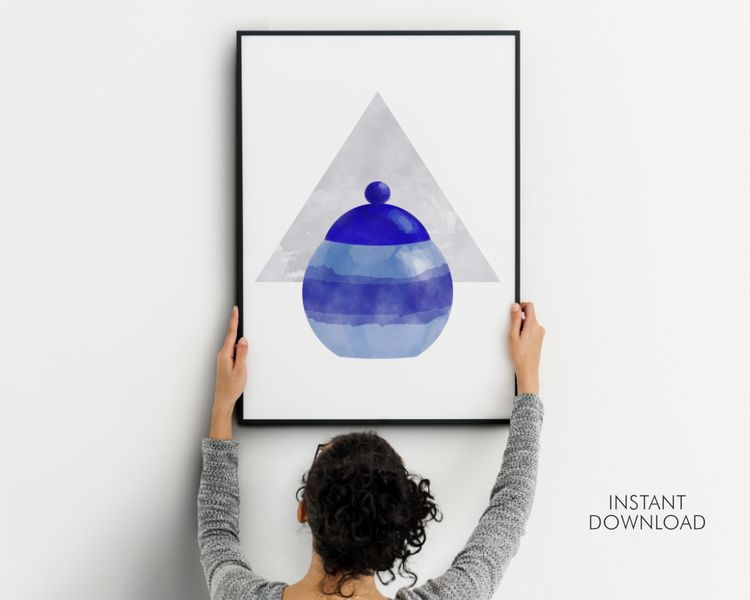 Blue Jar Wall Art Print | Abstr - artsbynaty | ello