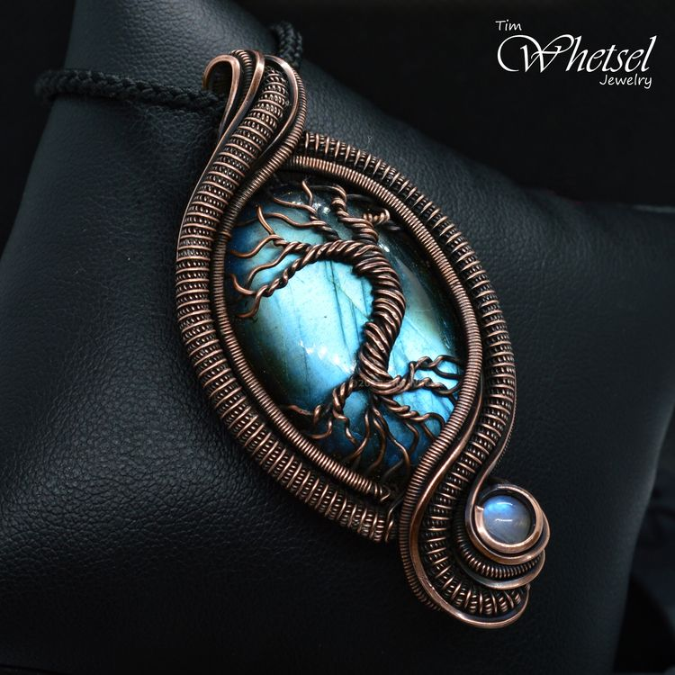 Copper Wire Wrapped Pendant Lab - tdwjewely | ello