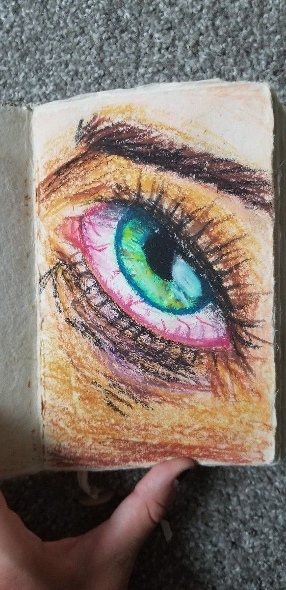 detailed oil pastel drawing eye - stellaluna-37 | ello