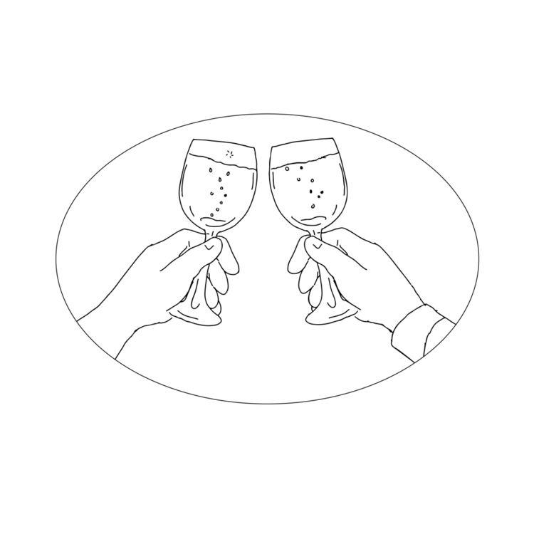 Hands Wine Glass Toasting Drawi - patrimonio | ello