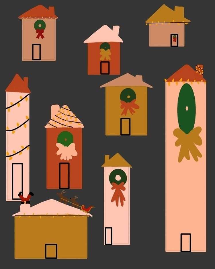 Cozy Christmas houses stuck San - efstathia_ | ello