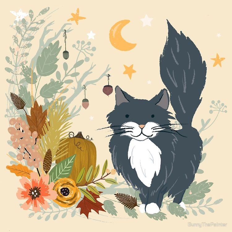 """moonlit autumn garden kitty"" p - littlebunnysunshine 