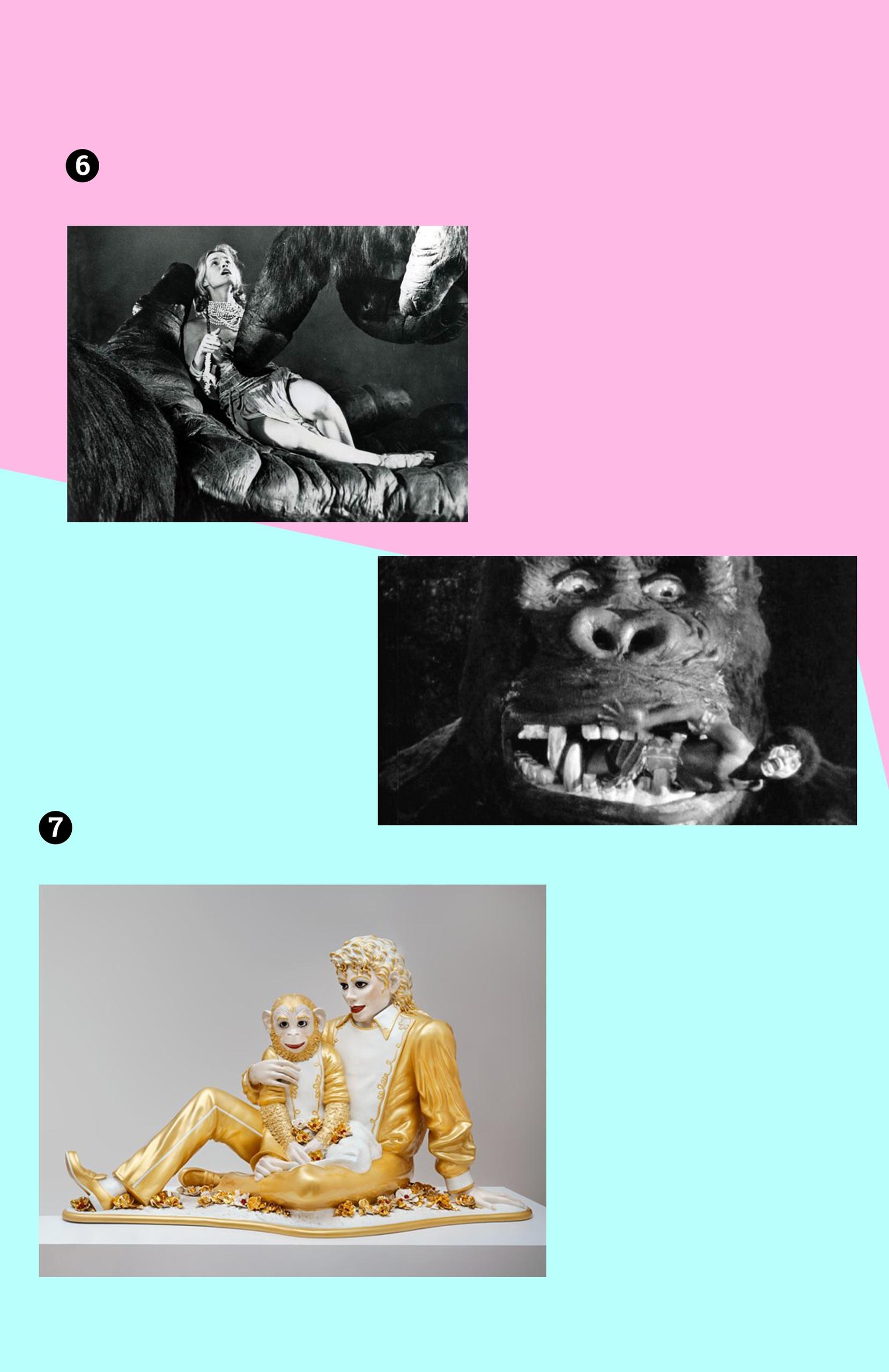 Obraz przedstawia trzy fotografie na różowo-niebieskim tle. Widzimy rzeźbę znanego artysty, oraz czarno-białe kadry z filmu.