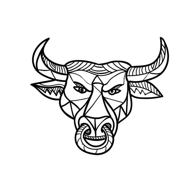Texas Longhorn Bull Head Mosaic - patrimonio   ello