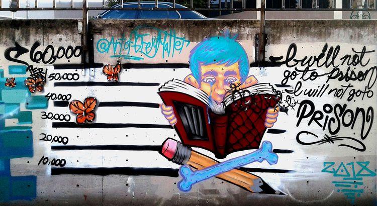 'Schools Prisons' mural Wide Op - greymatter33 | ello