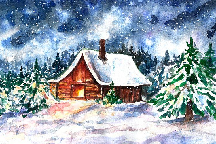 Winter wonderland - watercolor, painting - nekotangerine | ello