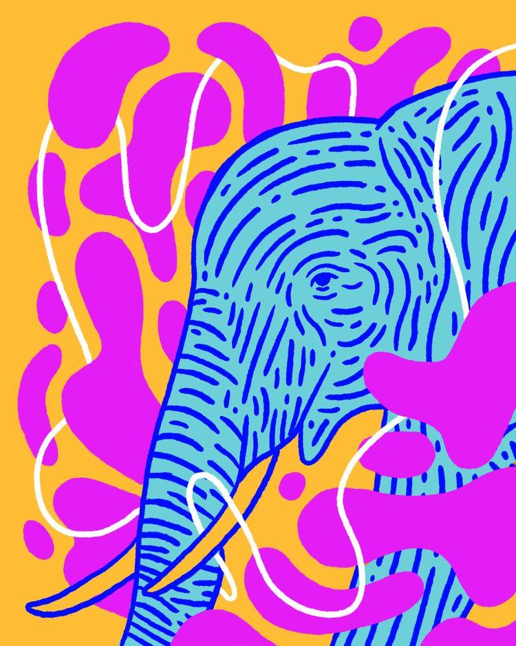 Elephant Inktober Day 24 - illustration - heybop   ello