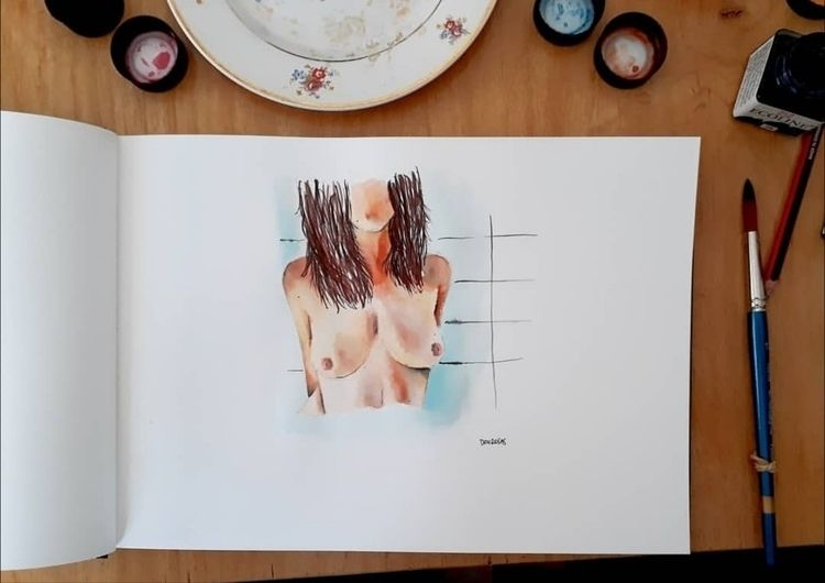 Nude 🖤 Watercolor - eroticdrawing - den_rosas | ello