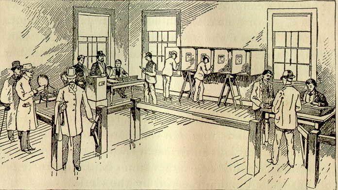poling place Massachusetts 1891 - peligropictures | ello